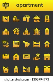 apartment icon set. 26 filled apartment icons.  Collection Of - Blueprint, Sold, Bungalow, Hotel key, House, Skyscraper, Building, Skyscrapper, Mortgage, Bunk bed, Area, Apartments