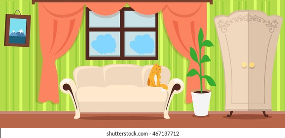 Apartment interior concept vector. Flat style. Room view with cat on sofa, plant in pot, window curtains, wardrobe, picture on the wall. Home cosiness, and comfort living place illustrating