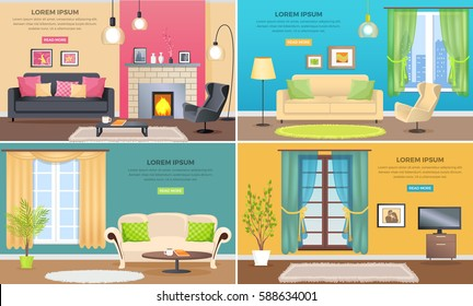 Apartment interiors web banners set. Elegant living room interiors with comfortable furniture, pictures on walls and plants flat vector. Classic appartment decoration style illustration