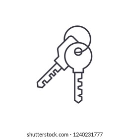 Apartment keys line icon concept. Apartment keys vector linear illustration, symbol, sign