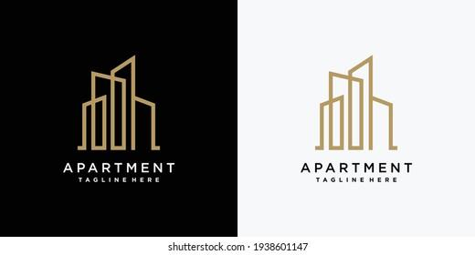 Apartment logo design template with creative line building concept