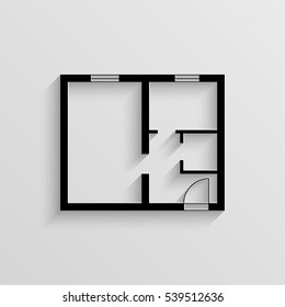 Apartment plan vector icon with  shadow