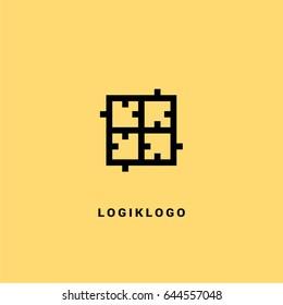 Apartment puzzle vector logo.