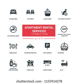 Apartment rental service - flat design style icons set. Clean linen, suitable for pets, no smoking area, double bed, round-the-clock check-in, breakfast, transfer, car parking, conditioner, wi-fi