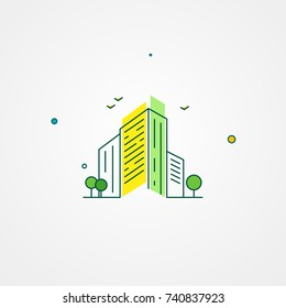 Apartment residential complex outline vector illustration. Building real estate art. Construction linear flat icon
