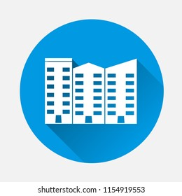 Apartment vector isolated. Ofice building.  Flat vector black  illustration  on blue background. Flat image house with long shadow.  Layers grouped for easy editing illustration. For your design.