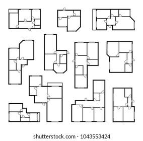 apartment vector plans, architectural project blueprint