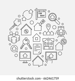 Apartments for rent round illustration - vector thin line real estate concept sign