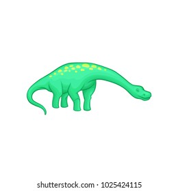 Apatosaurus dinosaur with long neck, tail and yellow spots on back. Animal of Jurassic period. Flat vector element for mobile game or children s encyclopedia