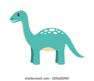 Apatosaurus dinosaur type, reptile with long neck and tail, friendly cartoon animal and calm image vector illustration, isolated on white background