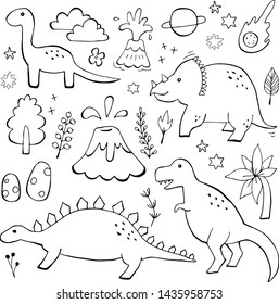 Apatosaurus triceraptor angry tyrannosaurus rex with open huge mouth, sketch. Hand-drawn carnivorous dinosaur set. Animal vector illustration
