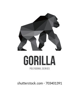 APE ANIMAL LOGO ICON SYMBOL TRIANGLE GEOMETRIC GORILLA POLYGON