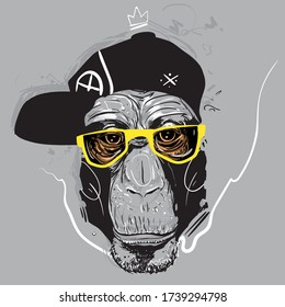 Ape in glasses Graffiti style