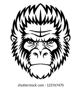 Ape head logo in black and white. This is vector illustration ideal for a mascot and tattoo or T-shirt graphic.