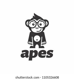ape logo smiling with flat design wearing round glasses