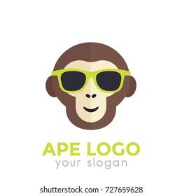 ape, monkey in sunglasses logo template