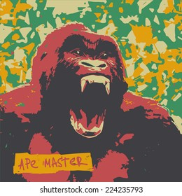 Ape roar high color contrast vector graphic illustration