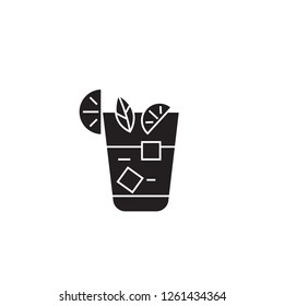 Aperitif, beverage black vector concept icon. Aperitif, beverage flat illustration, sign
