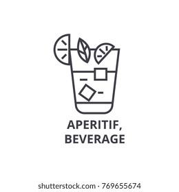 aperitif, beverage line icon, outline sign, linear symbol, vector, flat illustration