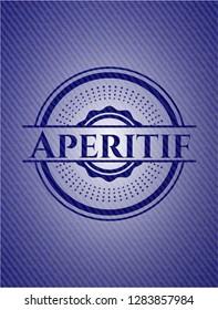 Aperitif jean or denim emblem or badge background