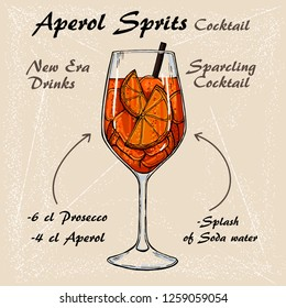 Aperol Sprits Cocktail vector illustration recipes. Bartender guide. Hand drawn illustration