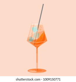 Aperol Spritz cocktail in flat design