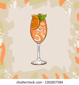 Aperol Spritz cocktail illustration. Alcoholic classic bar drink hand drawn vector. Pop art