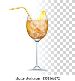 Aperol Spritz Cocktail Served In The Slightly Glass With Yellow Straw, Orange And Ice Cubes. Front View. 3d Photo Realistic Vector Illustration Isolated On Transparent Background
