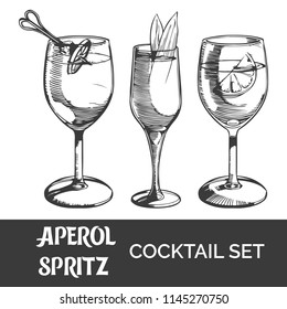 Aperol spritz cocktail set. Vector illustration