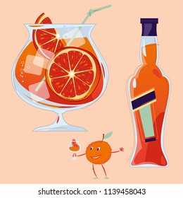 Aperol Spritz cocktail with a slice of orange. Small orange holds a glass with a cocktail. Traditional summer drink. Vector illustration