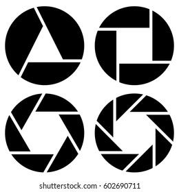 Aperture, camera lens symbol, pictogram in 4 variation for photography concept