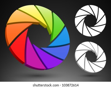 Aperture color wheel 3D logo.