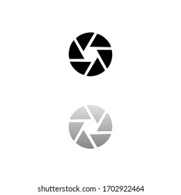 Aperture Diaphragm. Black symbol on white background. Simple illustration. Flat Vector Icon. Mirror Reflection Shadow. Can be used in logo, web, mobile and UI UX project