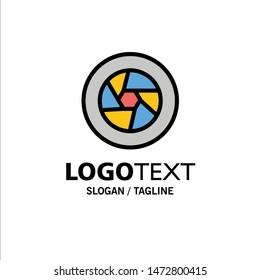 Aperture, Film, Logo, Movie, Photo Business Logo Template. Flat Color