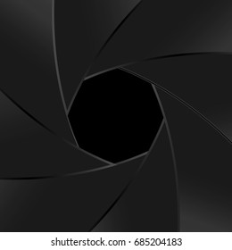 Aperture focus zooming vector background black shades