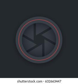 Aperture vector icon, dark version