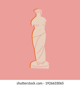 Aphrodite is an ancient Greek goddess of love, beauty, pleasure, passion and femininity illustration in vector.