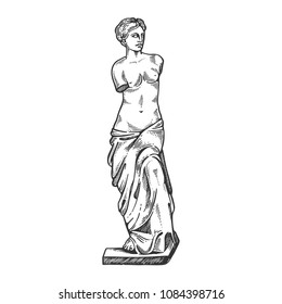 Aphrodite ancient statue engraving vector illustration. Scratch board style imitation. Black and white hand drawn image.