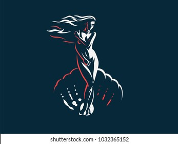 Aphrodite or Venus. Vector emblem.