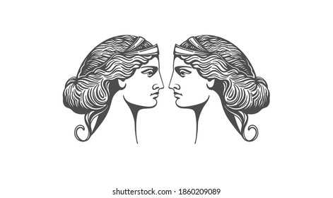 Aphrodite or Venus. Woman face logo. Emblem for a beauty or yoga salon. Vector illustration