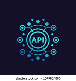 API, application programming interface, software integration vector illustration