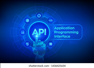 API. Application Programming Interface, software development tool, information technology and business concept on virtual screen. Robotic hand touching digital interface. AI. Vector illustration.