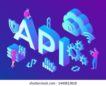 API. Application Programming Interface. Software development tool, information technology concept. Technology process of Software development. Isometric vector Illustration with icons and characters.