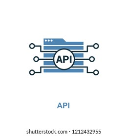Api creative icon in two colors. Premium style design from web development icons collection. Api icon for web design, mobile apps and printing usage.