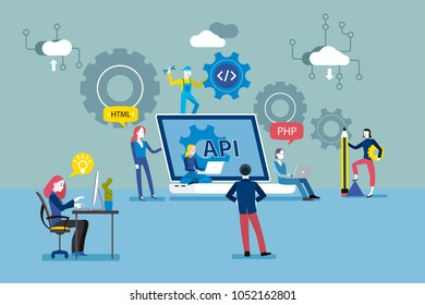 Api interface concept. Application development flat vector illustration.