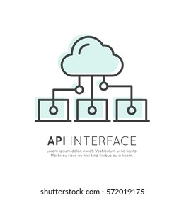 API Interface Data Development Platform, Modern Vector Icon Style Illustration