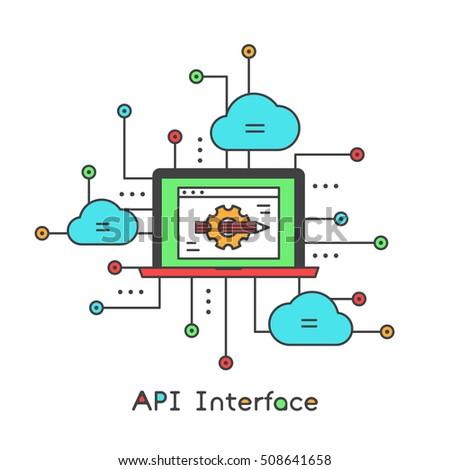 api interface data development platform modern stock vector royalty