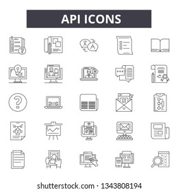 Api line icons for web and mobile design. Editable stroke signs. Api  outline concept illustrations