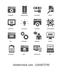 Api, Maintenance, Settings, Clipboard, Website, Browser, Monitor, Css, Responsive, Save, Password icon 16 set EPS 10 vector format. Icons optimized for both large and small resolutions.