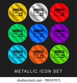 API Page 9 color metallic chromium icon or logo set including gold and silver